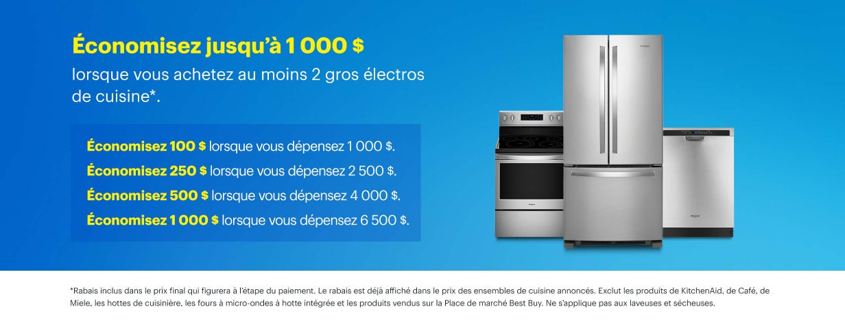 Économisez jusqu'à 1 000 $ lorsque vous achetez au moins 2 gros électros de cuisine*.