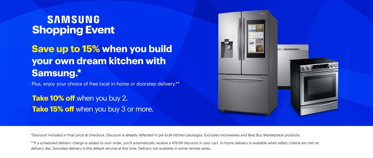 Save up to 15% when you build your own dream kitchen with Samsung.*