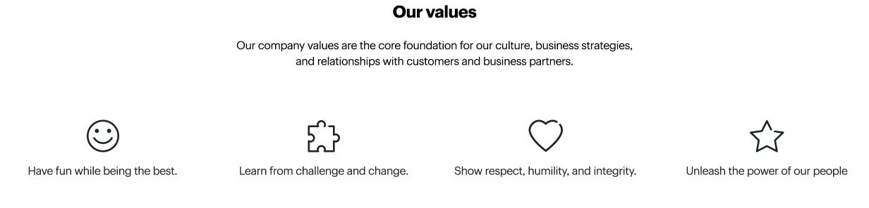 Our values. Have fun while being the best. Learn from challenge and change. Show respect, humility, and integrity. Unleash the power of our people.