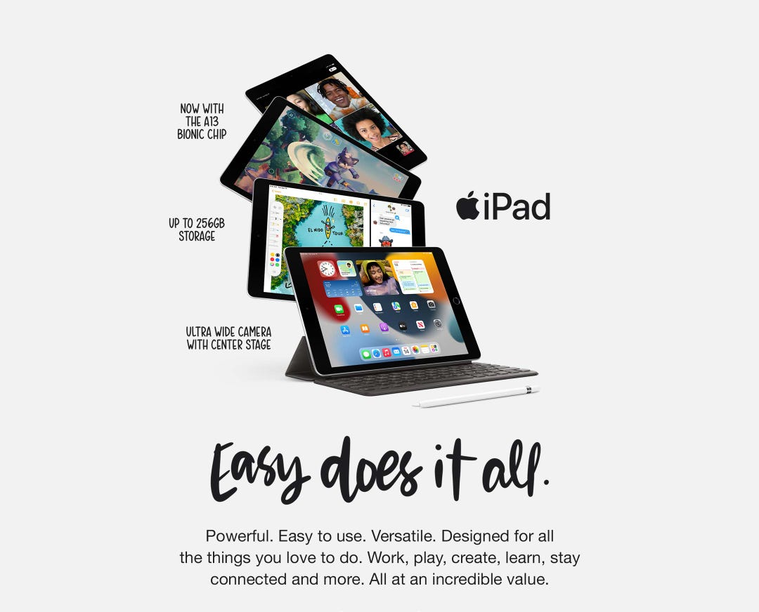 iPad. Now with the A13 Bionic chip. Up to 256 GB storage. Ultra wide camera with center stage.