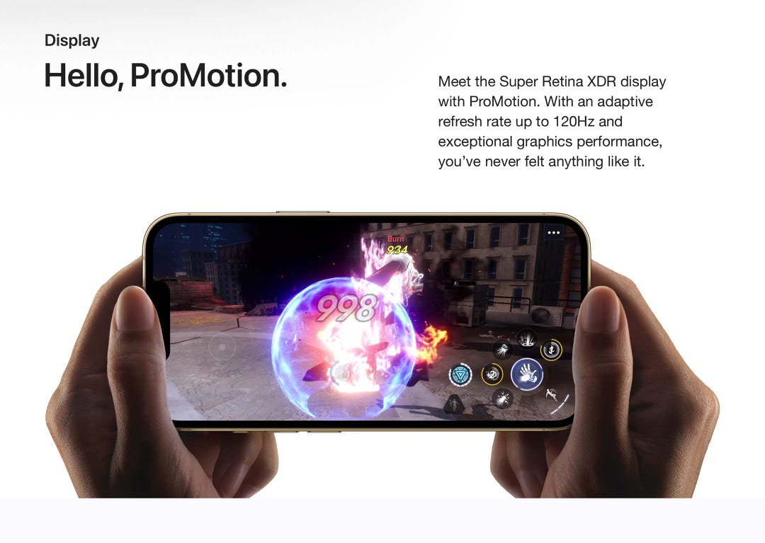 Hello, ProMotion.  Meet the Super Retina XDR display with ProMotion.