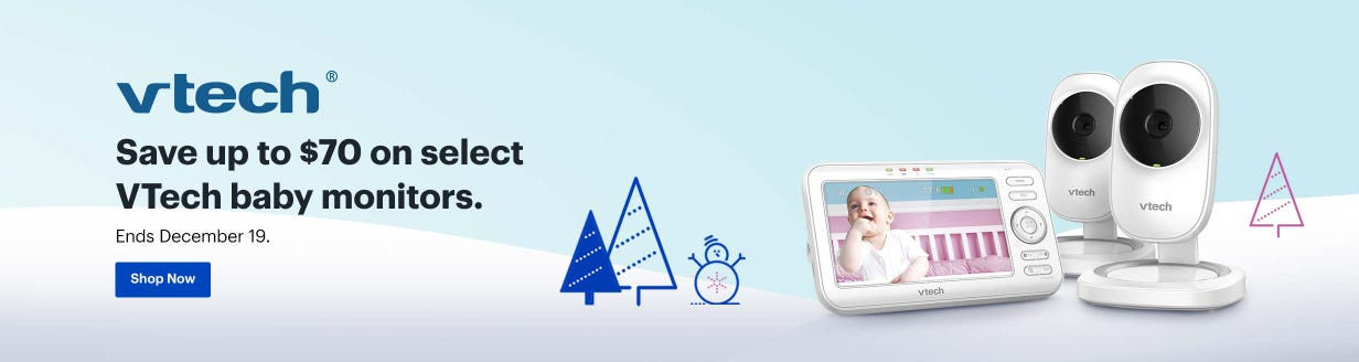 Save up to $70 on select VTech baby monitors. Ends December 19.