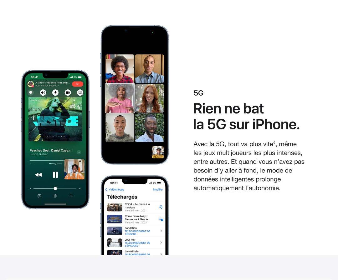 Rien ne bat la 5G sur iPhone.  Avec la 5G, tout va plus vite, même les jeux multijoueurs les plus intenses, entre autres.