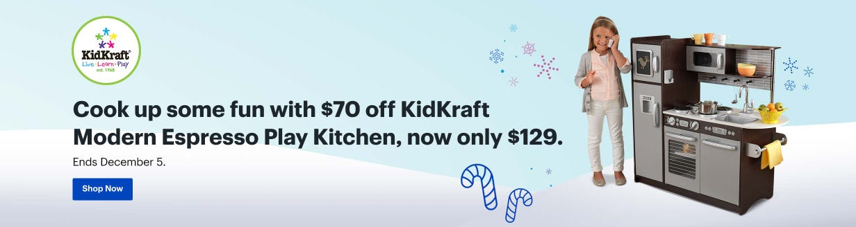 Cook up some fun with $70 off KidKraft Modern Espresso Play Kitchen, now only $129. Ends December 5.
